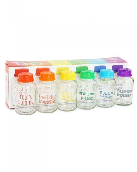 BABY PAX RAINBOW BREASTMILK GLASS BOTTLE 150ML (6 BOTTLES)